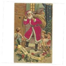 Santa Claus Red Robe Angels Wings Toy Bag Silk Embossed Postcard