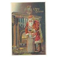 Santa Claus Red Robe Gold Gilt Sack Toys Fireplace Silk Embossed Postcard