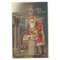 Santa Claus Red Robe Gold Gilt Sack Toys Fireplace Silk Embossed Postcard