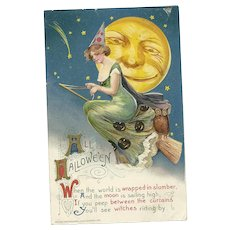 Artist Signed Samuel Schmucker John Winsch Halloween Postcard Witch on Broom Full Moon