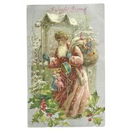 Old World Santa Claus Burgundy Robe Snow Covered Bag Toys Drum Silk Embossed Postcard