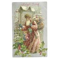 Old World Santa Claus Burgundy Robe Snow Covered Bag Toys Drum Silk Embossed Postcard