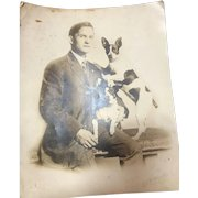 Set of 2 Original Real Photo Barnum and Bailey Dog trainer & Daisy