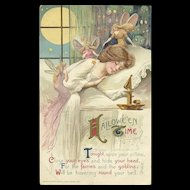1911 Artist Samuel Schmucker features Fairies and goblins with a woman in a slumber Postcard John Winsch