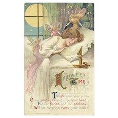 1911 Artist Samuel Schmucker features Fairies and goblins with a woman in a slumber Postcard John Winsch