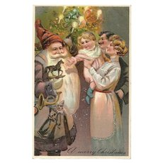 1911 PFB Vintage Christmas postcard featuring Santa Claus Series 6485