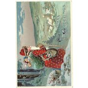 Red Robed Santa Claus Toy bag Cane Village Embossed Postcard