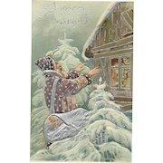 Brown Robed Santa Claus Bringing Magic Christmas Silver Gilt Embossed Postcard