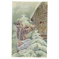 Brown Robed Santa Claus Bringing Magic Christmas Silver Gilt Embossed Postcard