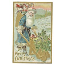 Blue Robed Bright Red Cheeked Santa Claus Gold Wheel Barrel Delivering Toys Embossed Postcard