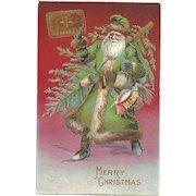 Santa Claus Green Robe Christmas Tree Book Naughty Nice Embossed Postcard