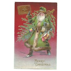 Santa Claus Green Robe Christmas Tree Book Naughty Nice Embossed Postcard