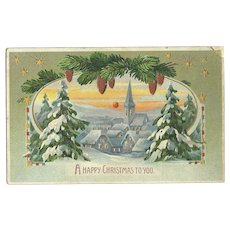 Hold to the Light Snow Covered Village Christmas Embossed Postcard