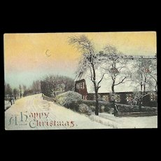 Hold to the Light Happy Christmas Snow Covered Bright Moon Embossed Postcard