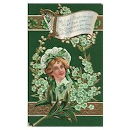St Patrick's Day My Irish Forget Me Not all of true Green Vintage Postcard Nash Series 5