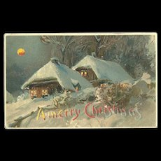 Merry Christmas Hold To The Light HTL Evening Winter scene Full moon