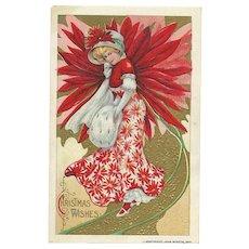 John Winsch Schmucker Christmas Beautiful woman in Poinsettia dress