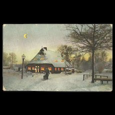 1907 HTL Hold To The Light Winter Farm Scene with crescent moon