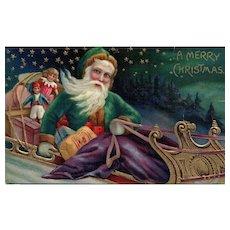 Beautiful Blue eyed Green Robed Santa Claus Christmas Postcard