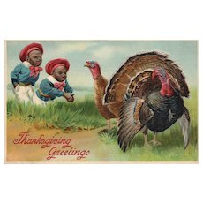 1907 Black Americana Vintage Thanksgiving Postcard