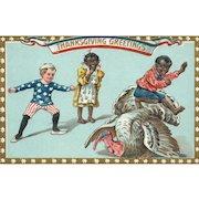1913 Black Americana Patriotic Thanksgiving postcard