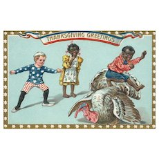 1913 Black Americana Patriotic Thanksgiving postcard