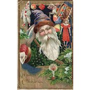 1911 Gold Gilt Gel Vintage Santa Claus Christmas Postcard
