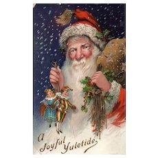 AMB Gold Gilt Glossy Santa Claus Christmas Vintage Postcard