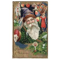Green Robed Santa Claus vintage Postcard Christmas