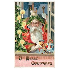 Charming old World style Santa Claus Christmas postcard