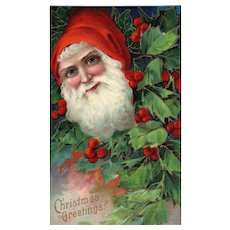 Close Up Santa Claus peeks through a holly bush Series 1480 Christmas Postcard