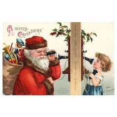 Classic Collectible Signed Ellen Clapsaddle Santa Claus Christmas postcard