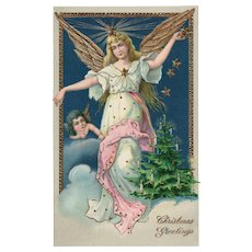 Gold Gilt embossed Guardian Angel with Gel  #2173