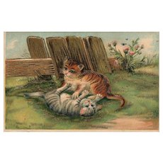 1900's Vintage Cat Kitten playing Gold gilt embossed  #220 Postcard