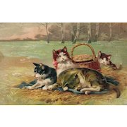 Beautiful PFB Series 7768 featuring a group of cats lounging around a basket in the field like a picnic