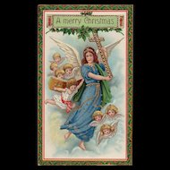 Stunning Barton & Spooner Gold Gilt Gel Angel Christmas Postcard