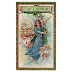 Stunning Barton & Spooner Gold Gilt Gel Angel Christmas Postcard