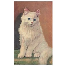 Artist Signed Wm Jorge White blue eyed cat vintage Postcard Alma #325