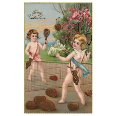 Gold Gilt Gel Cupids Badminton with hearts vintage Postcard