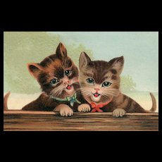 ABS #249 Pair of smiling Kittens cats Embossed vintage postcard