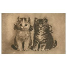 Artist sketched vintage postcard of kittens cats with bows