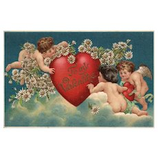 AMB  Vintage Valentine Beautiful blue sky wit three cupid angels surrounding a heart