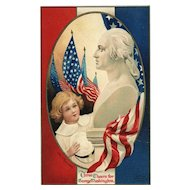 Beautiful Signed Ellen Clapsaddle George Washington Patriotic Postcard