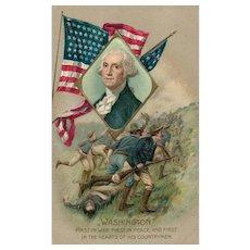 John Winsch George Washington Patriotic Postcard Battle scene