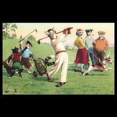 Alfred Mainzer dressed Cat golf golfing vintage postcard series