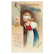 Artist Signed Ellen Clapsaddle Halloween Highest Expectation Series 1667 Vintage Postcard