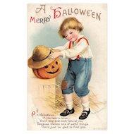 Artist Signed Ellen Clapsaddle A Merry Halloween Vintage Postcard