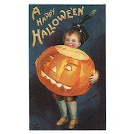 Happy Halloween Jack O Lantern Artist Signed Ellen Clapsaddle Vintage Postcard