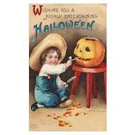 Artist Signed Ellen Clapsaddle vintage Halloween Postcard series 1238 Boy  Jack O Lantern