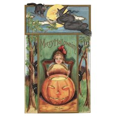 1913 Vintage Halloween Postcard Witch, Black Cats Full moon